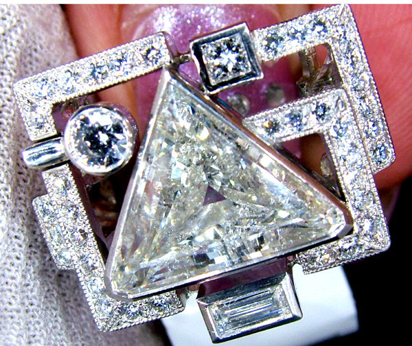 DIAMOND 4.34CT-1.25CT PLATINUM RING WEIGHT 97 CTS AUST-SD