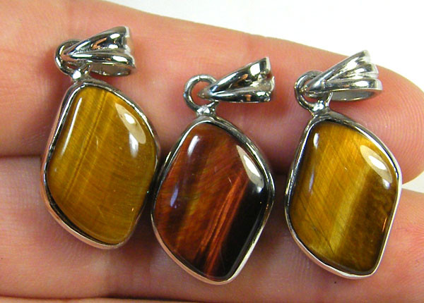 THREE TIGER EYE  PENDANTS   AAA 2722