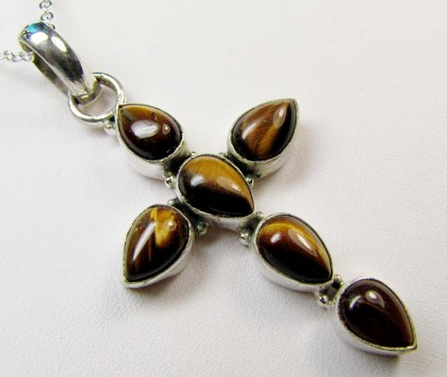 TIGER EYE CROSS SILVER PENDANT 35.15 CTS MGMG 60