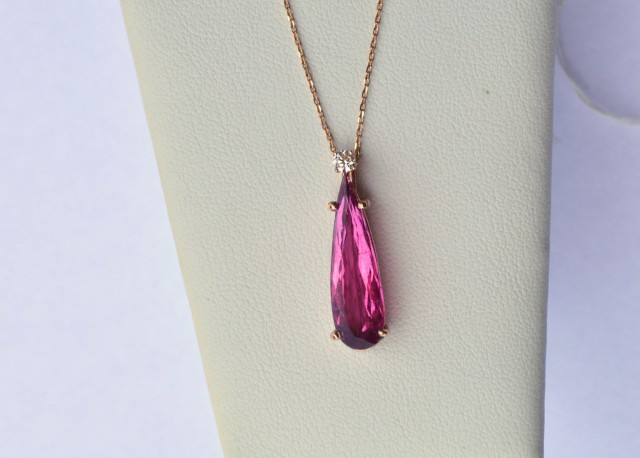 Beautiful Rubellite and Diamond 14k Rose Gold Pendant