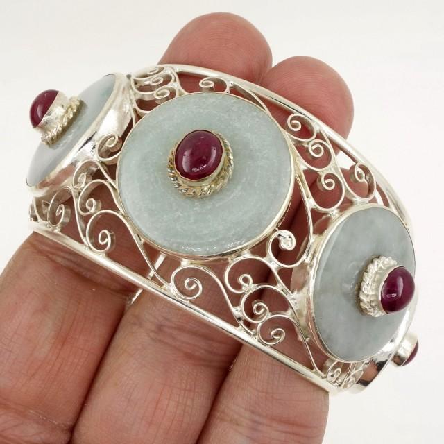 Jade Bangle - Bracelet - Sterling Silver - Rubies - HANDMADE Karen Thai Tri