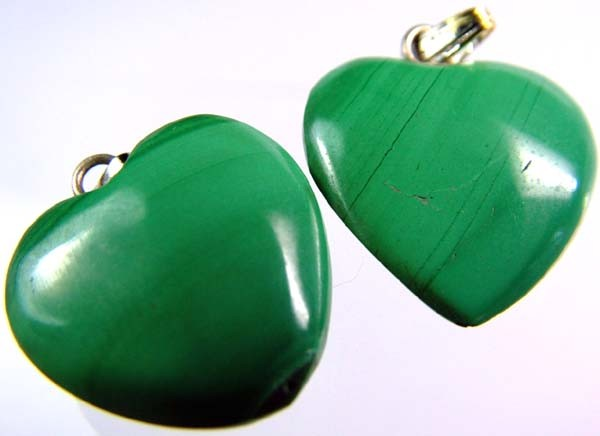 MALACHITE HEART PENDANT PAIR 27 CTS [SJ2863]