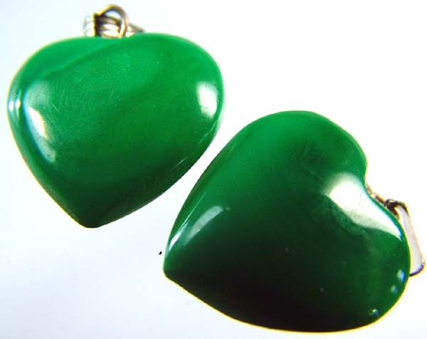 MALACHITE HEART PENDANT PAIR 30 CTS [SJ2868]