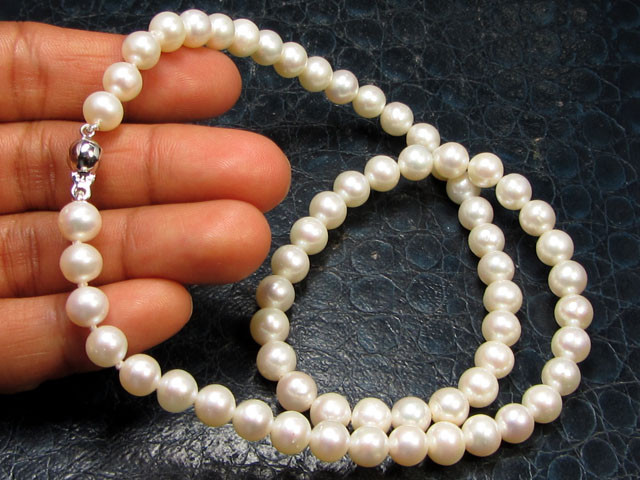 FREE SHIPPING 6.5-7 MM DIAM 9 K PEARL NECKLACE TP 27