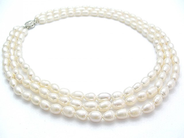 Genuine 3 Strand Pearl Necklace AA+