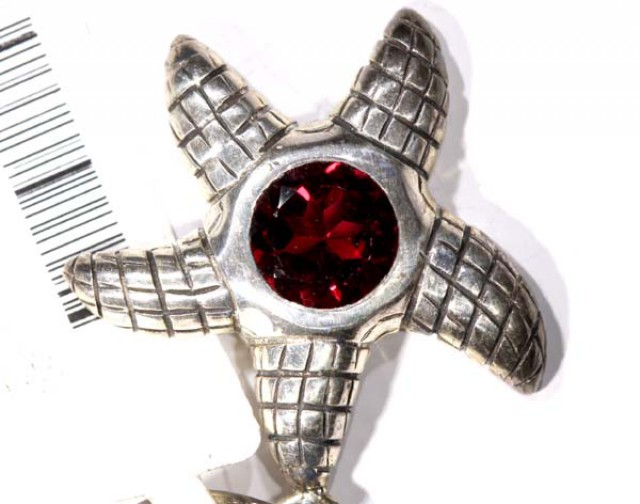 STARFISH FACETED GARNET SILVER PENDANT - 39 CTS   TBJ-602