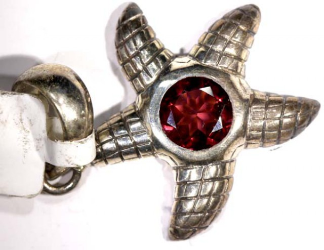 STARFISH FACETED GARNET SILVER PENDANT - 39CTS  TBJ-612