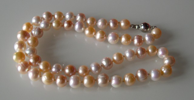 E...VERY NICE NATURAL MULTICOLOR PEARLS NECKLACE 46 CMS