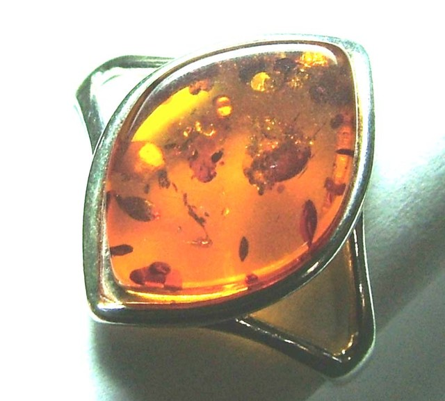 AMBER SILVER RING-SIZE  10.62 CTS SG-2105