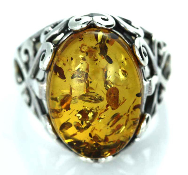 UNISEX AMBER  SILVER 8.5 RINGS SIZE 35.90 CTS [SJ1445]