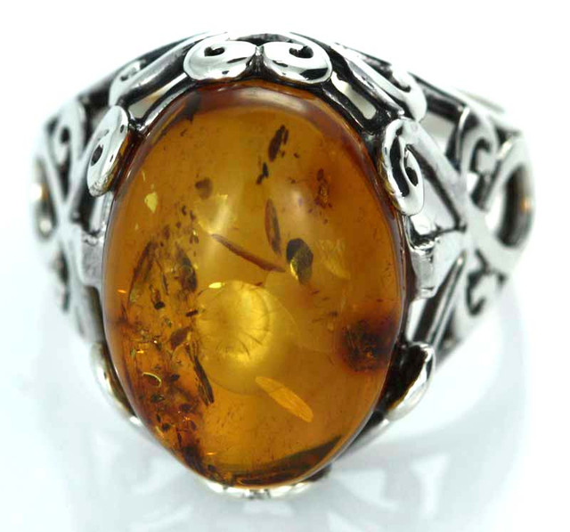 UNISEX AMBER  SILVER 10 RINGS SIZE 33.55 CTS [SJ1446]