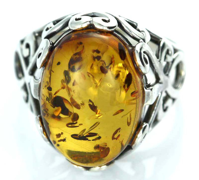 UNISEX AMBER  SILVER 10 RINGS SIZE 34.55 CTS [SJ1454]