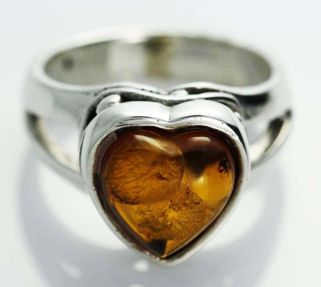 UNISEX AMBER  SILVER RINGS 6 SIZE  34.40 CTS [SJ544]