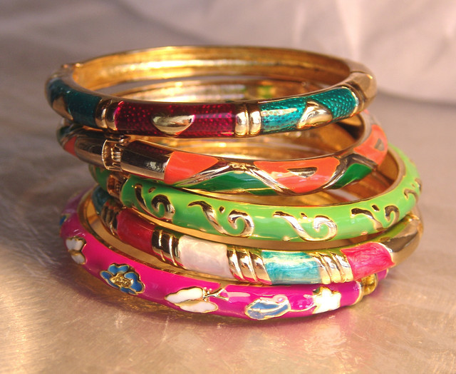 Enameled Brass Bracelets, Pretty and Unusual