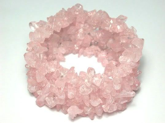 Rose Quartz Chip Bracelet - Soft Lovely Pink - 395 Carats