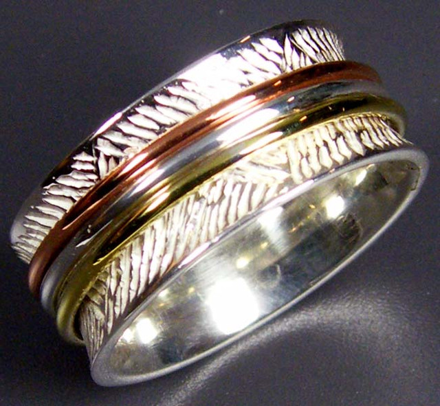 COPPER BRASS HAND ETCHED SILVER RING SIZE 8.5 GTJA669