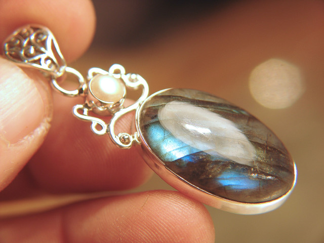 Gorgeous 54mm Labradorite Pendant, Sterling Silver Mounted