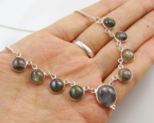 44CTS MADAGASCAR  LABRADORITE  NECKLACE  MJA 968