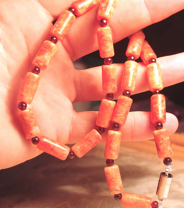 Orange Agate, Garnet Necklace - 21 inches Lovely Unusual