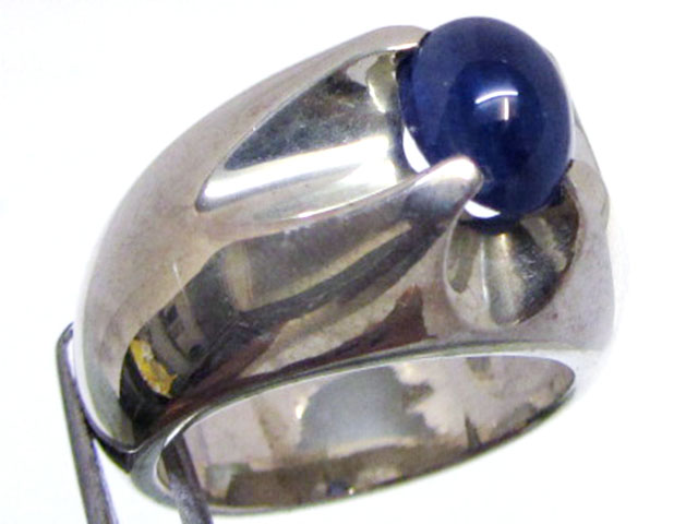Sapphire set in Heavy Silver Ring  size  9.5  MJA 542