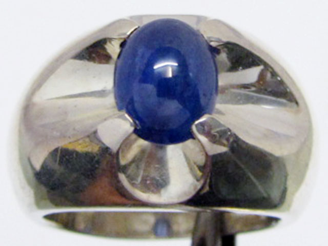 Sapphire set in Heavy Silver Ring  size 10 MJA 543