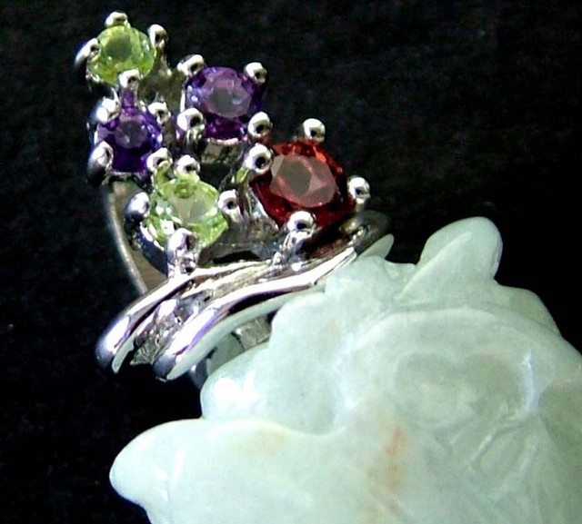JADE SILVER PENDANT +5 NATURAL STONES 51 CTS [GT1304 ]