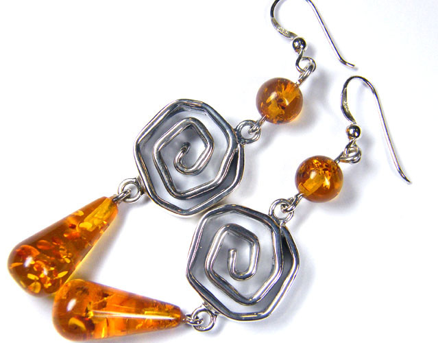 LARGE  BALTIC AMBER SILVER  EARRINGS 82  TCW  MYG 1057