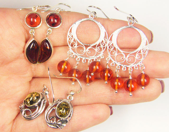 THREE  BALTIC AMBER SILVER  EARRINGS 68 TCW  MYG 1089