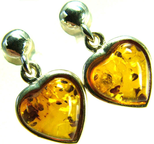 BALTIC AMBER EARRINGS SILVER 10.35 CTS [SJ516]