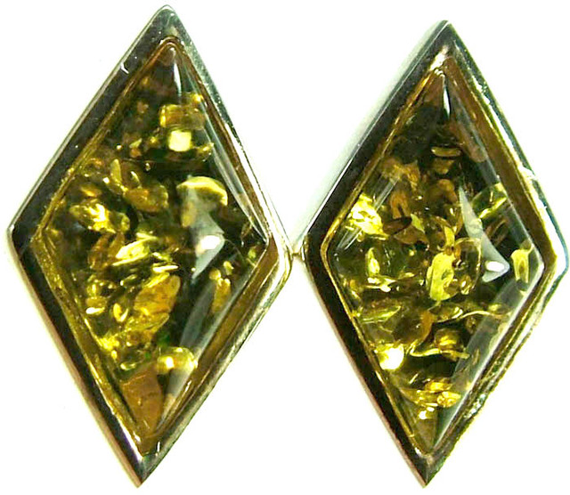GREEN AMBER EARRINGS -POLAND 10.75 CTS [SJ507]