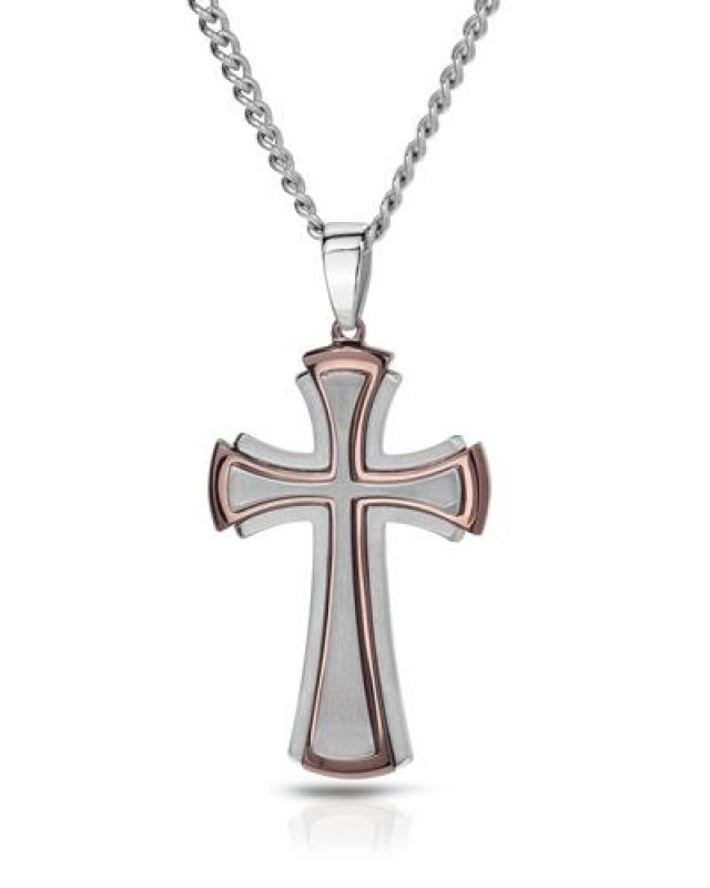 NEW - 131.50 CTW MENS TWO TONE CROSS PENDANT WITH CHAIN