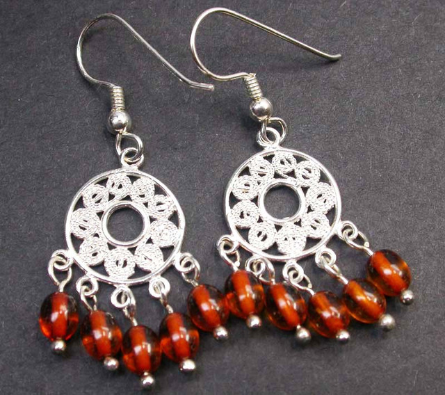 BALTIC AMBER EARRINGS SILVER 18.05 CTS [SJ1413]