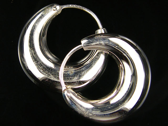 MODERN 24 MM  LOOP STERLING SILVER  EARRING    MYT 462