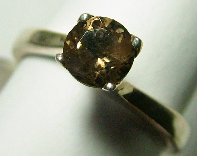 SOLITAIRE SMOKEY  QUARTZ SILVER RING   18 CTS  ADK-160