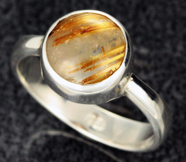 RUTILATED QUARTZ SILVER RING SZE 8 -FACTORY DIRECT  [SJ2110]
