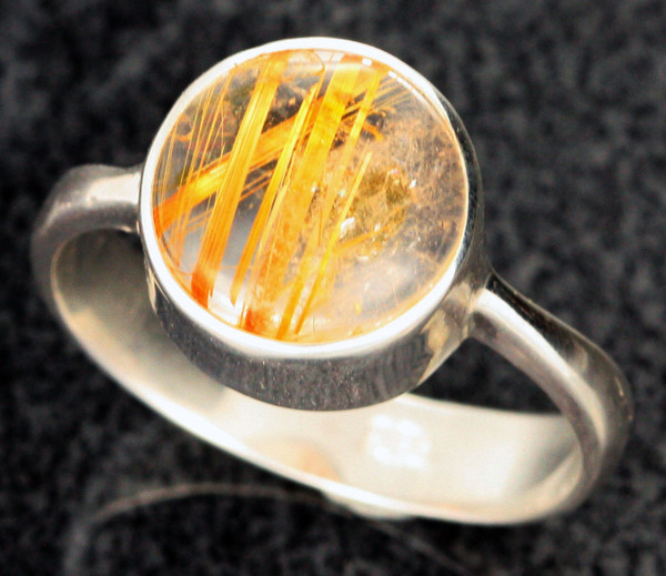 RUTILATED QUARTZ SILVER RING SZE 8 -FACTORY DIRECT  [SJ2120]