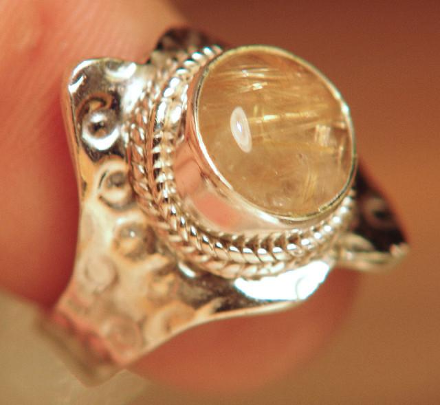 Rutile Quartz, 925 Sterling Silver Ring (Size 7)