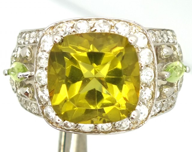 LEMON QUARTZ  SILVER RING  33.70 CTS  SIZE-6.25 RJ-248