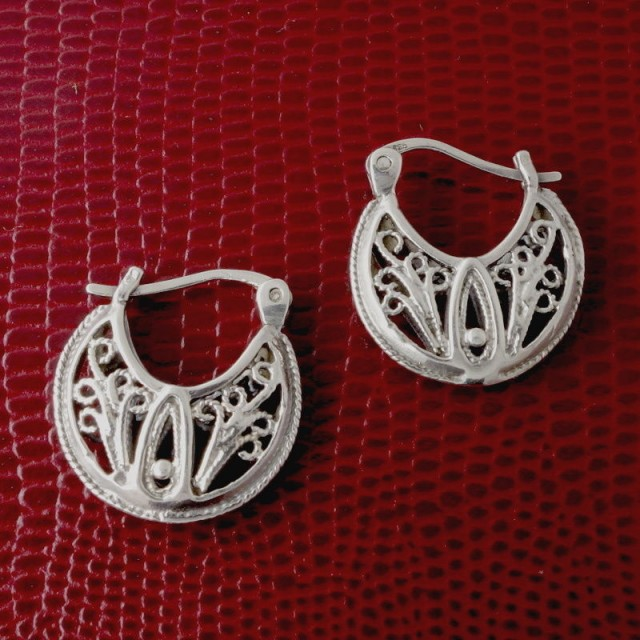 Woman's Sterling Silver Earrings, Floral, Cutout Detail