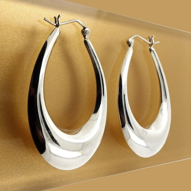 Sterling Silver Earrings, Elegant Balinese Oval Hoops Handcrafted