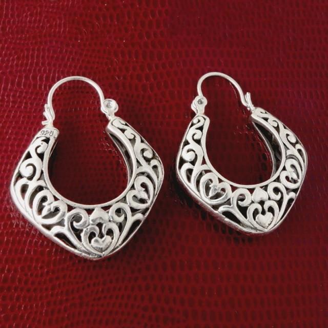 Sterling Silver Earrings, Tattoo Hearts Tribal Handmade Masterwork