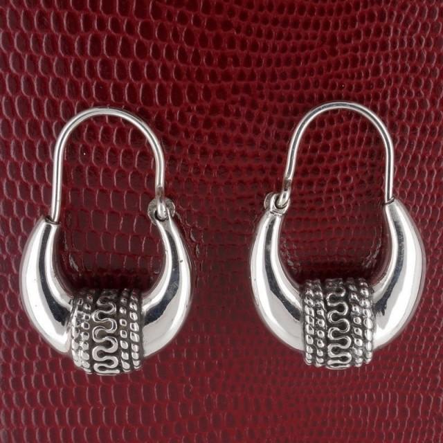 Sterling Silver Tribal Hoop Earrings, Handmade