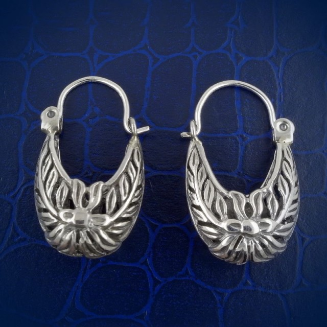 Sterling Silver Earrings, Exotic Floral Tribal Handmade Masterwork