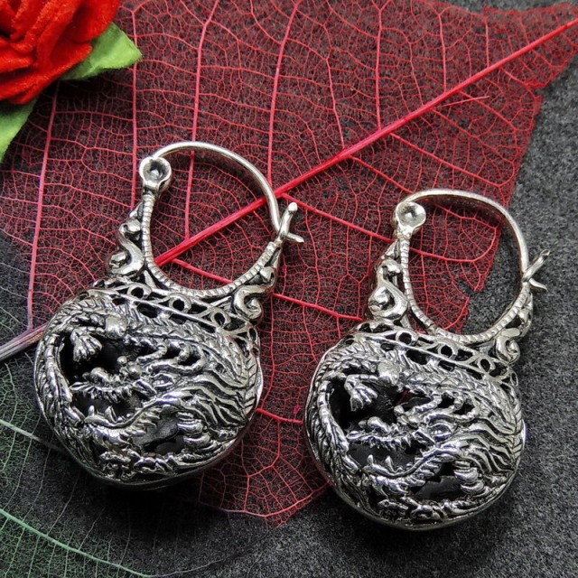 Sterling Silver  Earrings, Dragon & the Phoenix Handcrafted Tribal