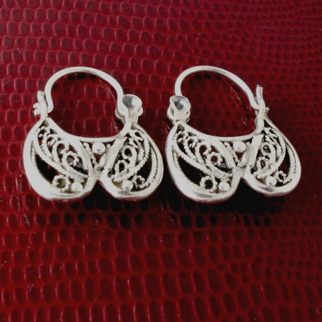 Sterling Silver Earrings, Antique Style Filigree Handcrafted Tribal
