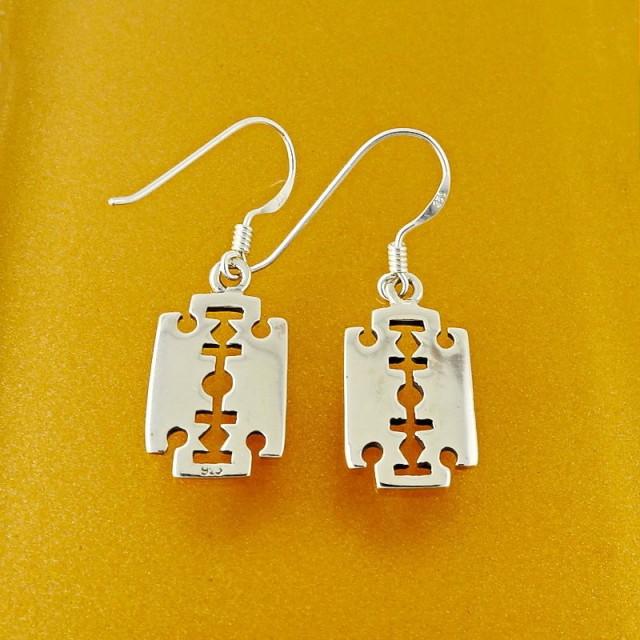 Sterling Silver Razor Blades Dangle Earrings