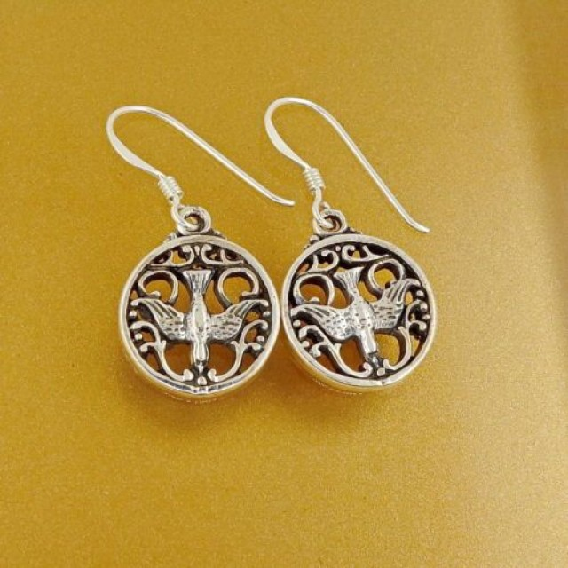Sterling Silver Celtic Raven Dangling Earrings