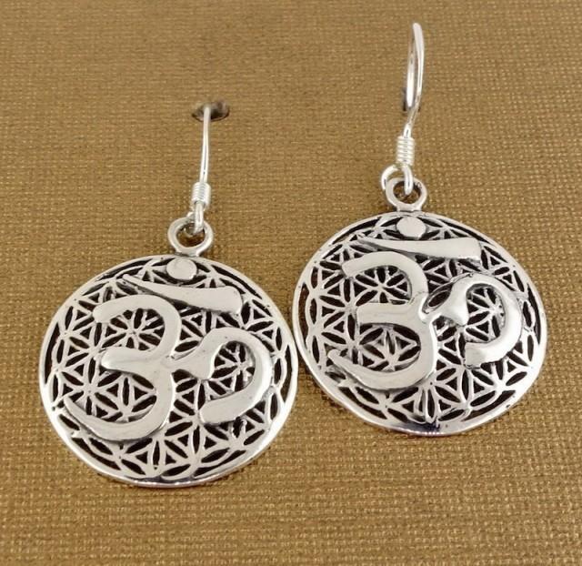 Sterling Silver Om Meditation Earrings, Flower of Life Mandala