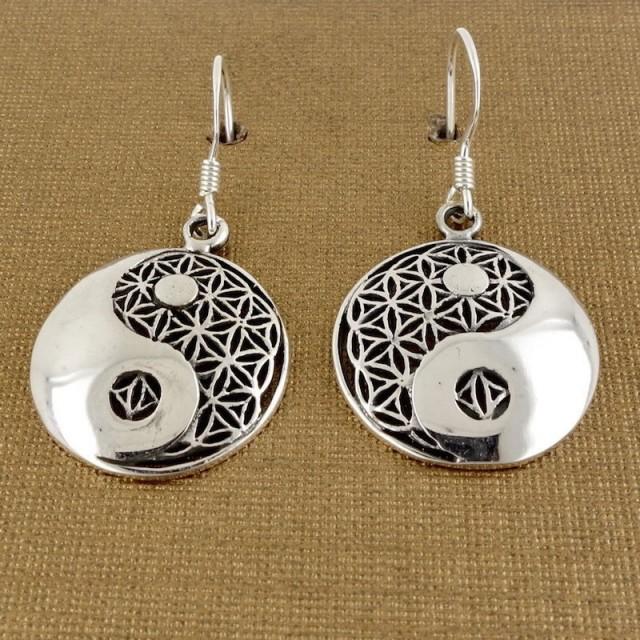 Sterling Silver Ying Yang Meditation Earrings, Flower of Life Mandala