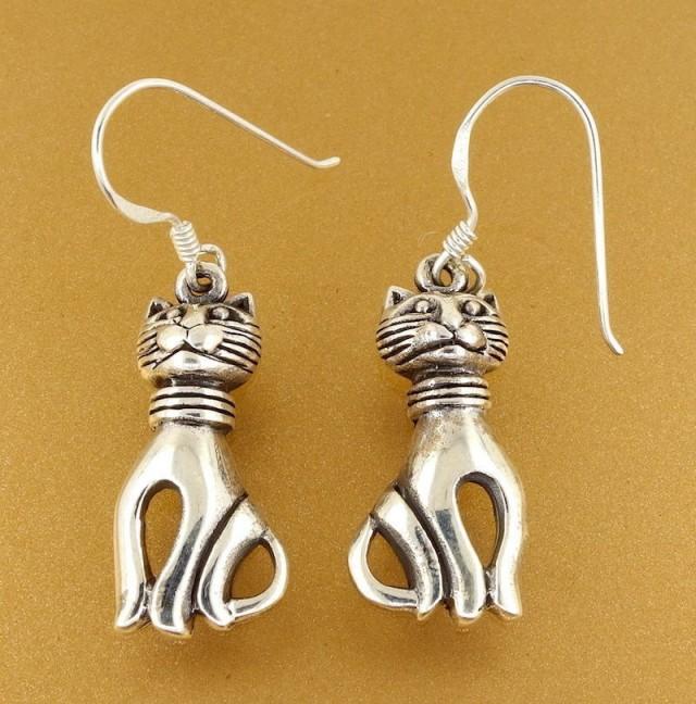 Sterling Silver Cat Lover Dangling Earrings